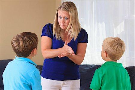 mom disciplining kids