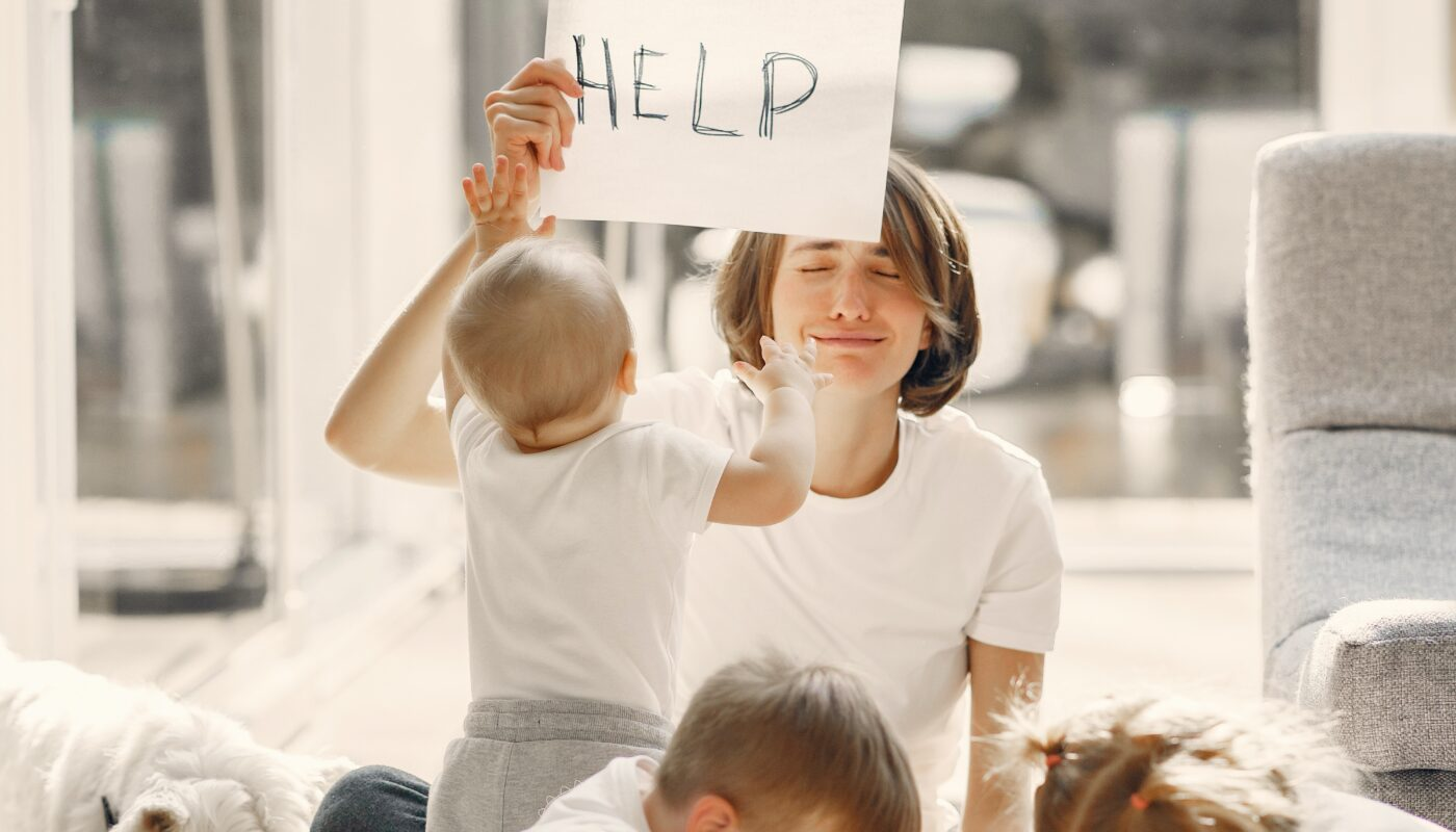 stressed mom with kids