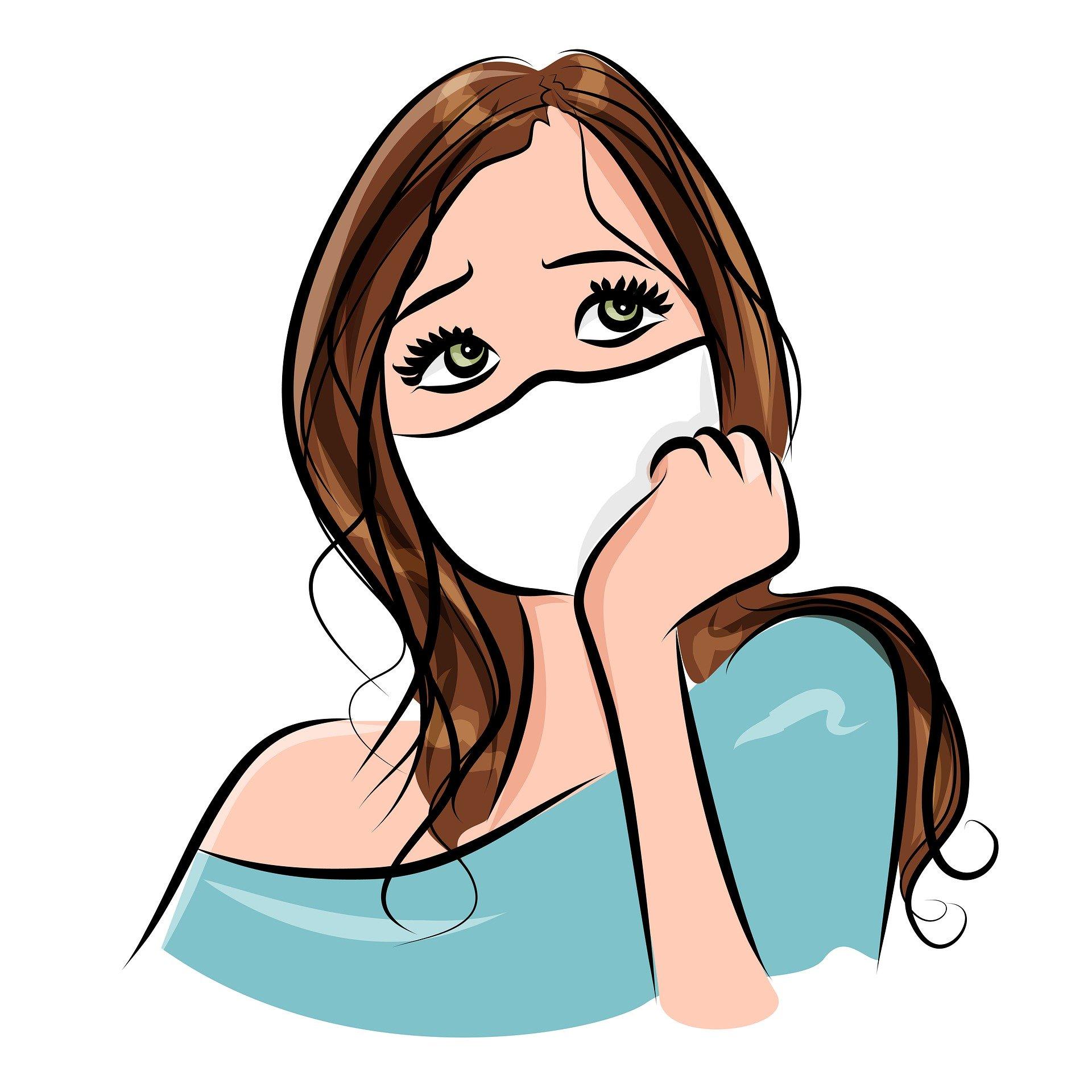 Masked girl cartoon